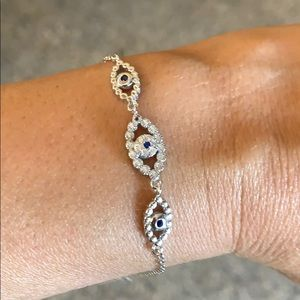 "Evil Eye 925 Sterling Silver Bracelet 6.5"" - 8"""